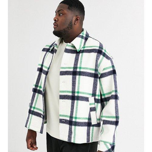 Plus - Manteau à carreaux en laine mélangée - ASOS WHITE - Modalova