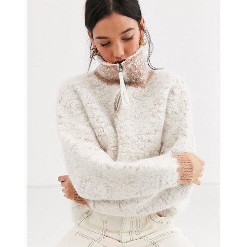 Pull en laine mélangée épaisse avec encolure zippée - ASOS WHITE - Modalova