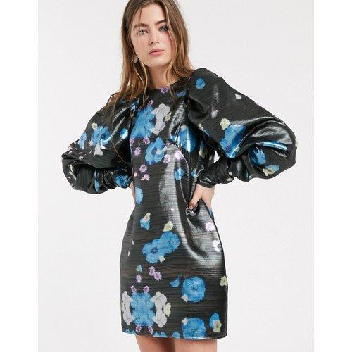 Robe courte métallisée à fleurs avec manches oversize - ASOS WHITE - Modalova
