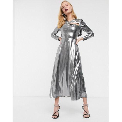 Robe mi-longue métallisée à manches longues - ASOS WHITE - Modalova