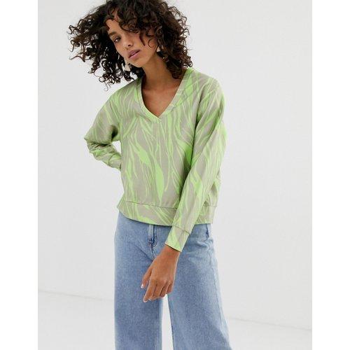 Sweat-shirt col V à imprimé fluo - ASOS WHITE - Modalova