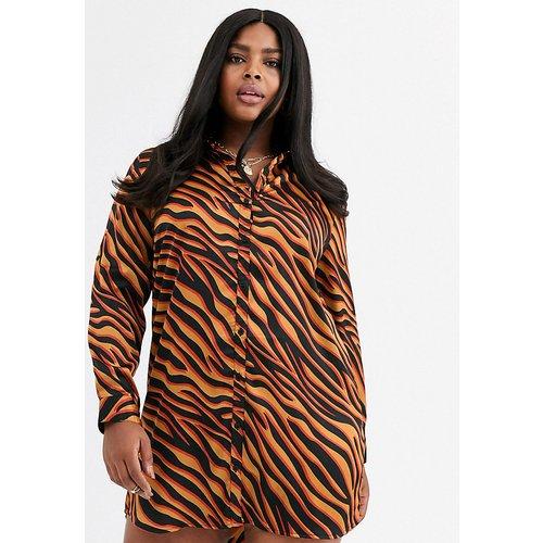 Robe chemise à imprimé zèbre coloré - AX Paris Plus - Modalova