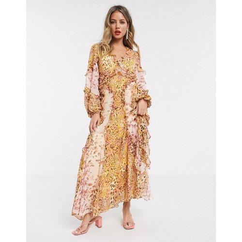 Long - Robe longue volantée à manches longue - Imprimé léopard moutarde/blush - bardot - Modalova