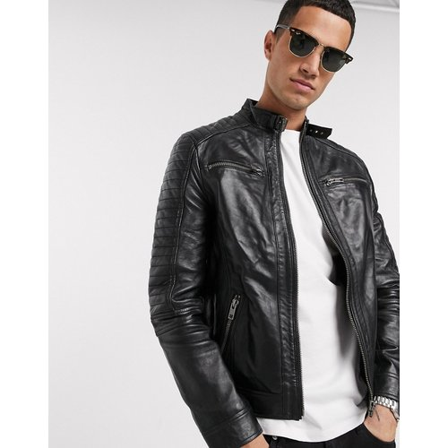 Blouson style motard en cuir véritable à 4 poches - Barneys Originals - Modalova