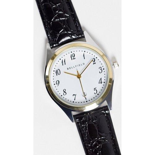 Montre à bracelet en cuir et cadran blanc - Bellfield - Modalova