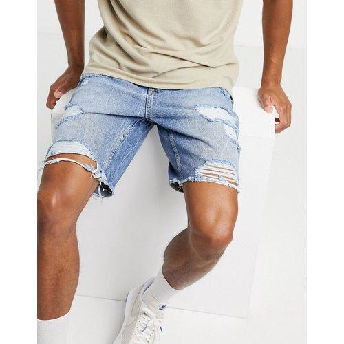 Short slim en jean déchiré - clair - Bershka - Modalova