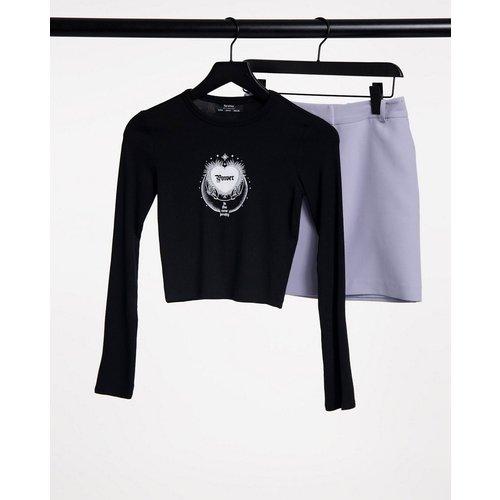 T-shirt à manches longues et imprimé cœur - Bershka - Modalova
