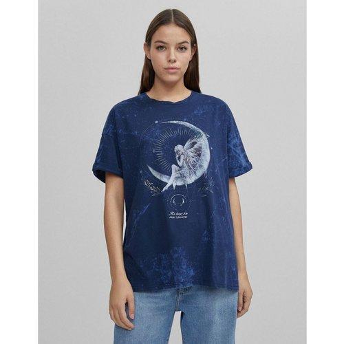 T-shirt délavé à l'acide à imprimé féérique - marine - Bershka - Modalova