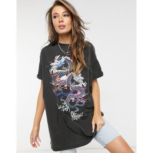 T-shirt oversize à imprimé dragon - délavé - Bershka - Modalova