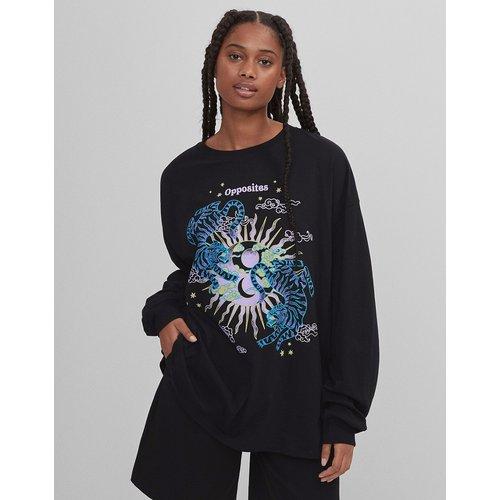 T-shirt oversize à manches longues et imprimé tigre graphique - Bershka - Modalova