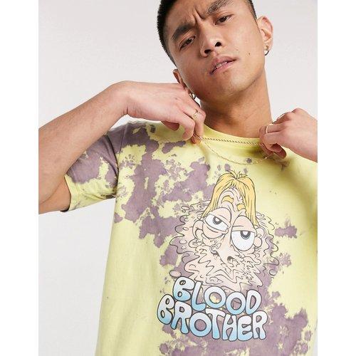 T-shirt délavé imprimé - Citron/violet - Blood Brother - Modalova