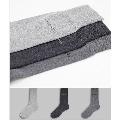 Eric - Lot de 3 paires de chaussettes à logo - Gris - Calvin Klein - Modalova