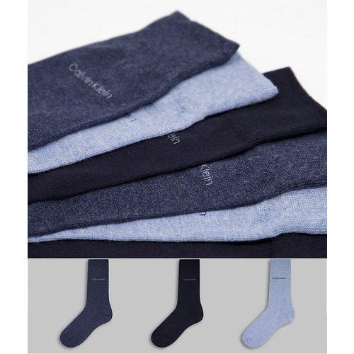 Eric - Lot de 3paires de chaussettes à logo - Bleu - Calvin Klein - Modalova