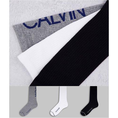 Gavin - Lot de 3 paires de chaussettes côtelées - Noir/blanc/gris - Calvin Klein - Modalova