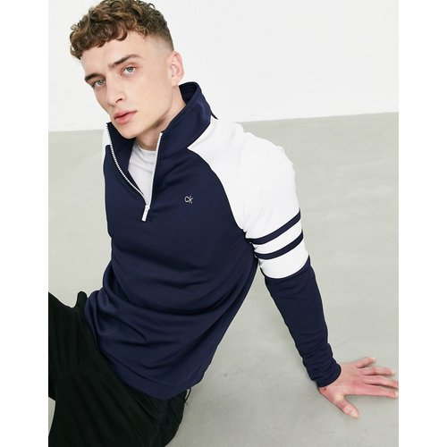 Sweat-shirt à manches raglan et demi-fermeture éclair - Bleu - Calvin Klein Golf - Modalova