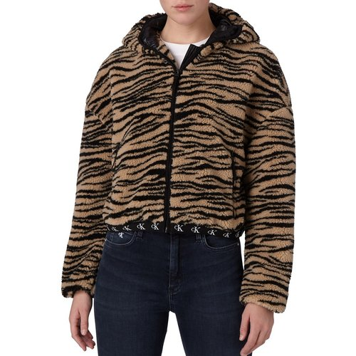 Polaire sherpa à imprimé tigre, à capuche et à fermeture éclair - Calvin Klein Jeans - Modalova