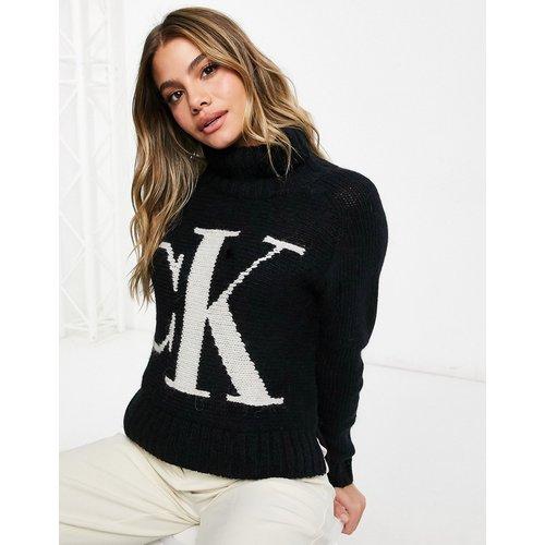 Pull col roulé en maille à logo sur l'avant - Calvin Klein Jeans - Modalova