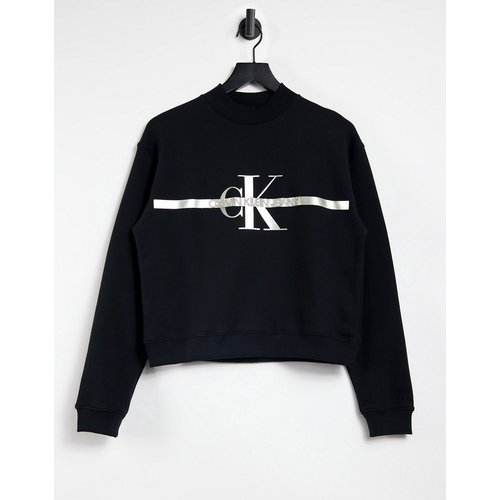 Sweat-shirt à logo emblématique monogramme argenté - Calvin Klein Jeans - Modalova