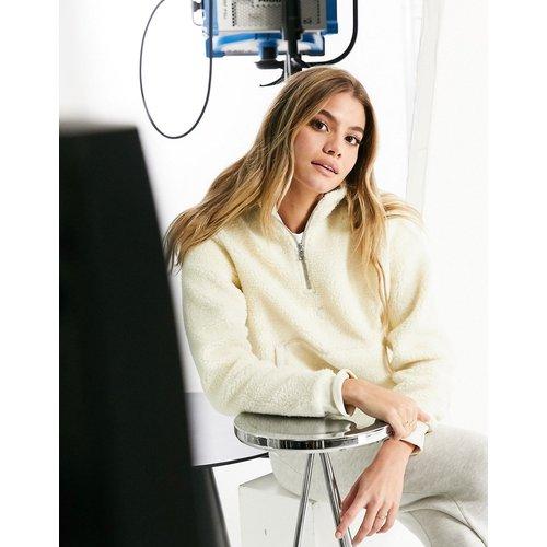 Sweat-shirt en sherpa à col montant à fermeture éclair - Crème - Calvin Klein Jeans - Modalova