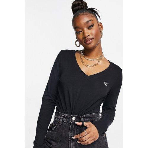 T-shirt col V à manches longues avec logo emblématique - Calvin Klein Jeans - Modalova