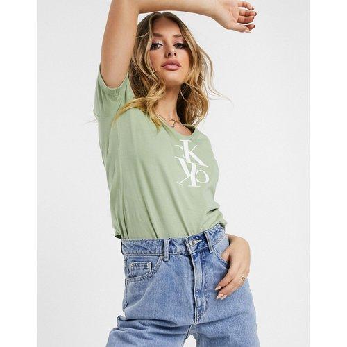 T-shirt effet raccourci avec logo effet miroir - Calvin Klein Jeans - Modalova