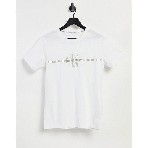 T-shirt slim avec bande monogramme - Doré - Calvin Klein Jeans - Modalova