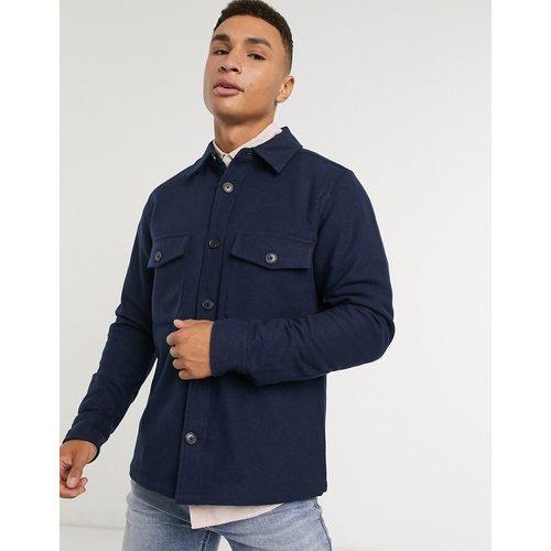 Surchemise en laine avec poches sur le devant - Bleu - Calvin Klein - Modalova