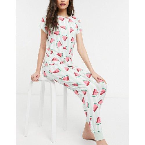 Chelsea Peer - Ensemble de pyjama rayé à motif pastèque avec t-shirt et pantalon - Chelsea Peers - Modalova
