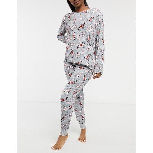 Ensemble de pyjama à imprimé teckels à carreaux en polyester biologique - Gris - Chelsea Peers - Modalova