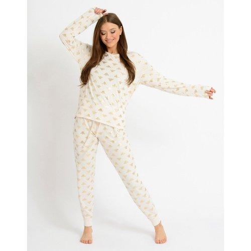 Ensemble de pyjama long à imprimé abeilles métallisé en éco poly - Crème - Chelsea Peers - Modalova