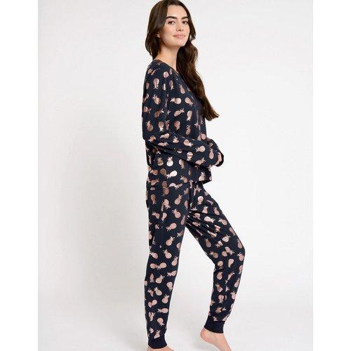 Ensemble de pyjama long à imprimé ananas métallisé en polyester biologique - Chelsea Peers - Modalova