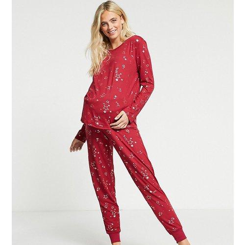 Maternité - Ensemble de pyjama long avec imprimé étoile métallisé en éco poly - Chelsea Peers - Modalova
