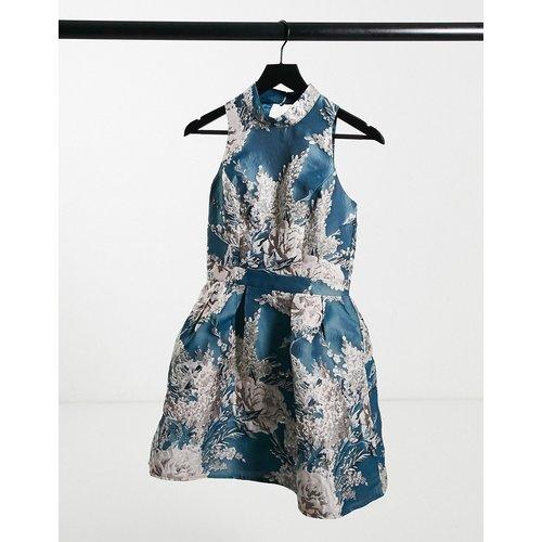 Robe de bal de promo courte en jacquard à col montant et motif flroal - Bleu sarcelle - chi chi london - Modalova