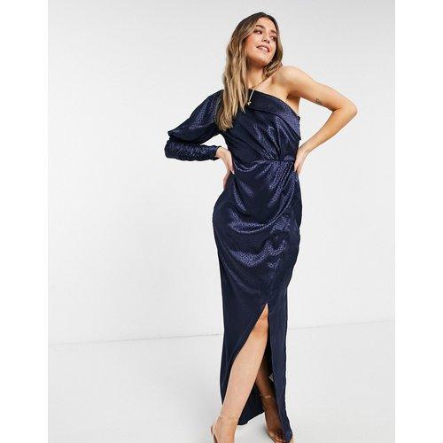 Robe drapée asymétrique en satin - Bleu - chi chi london - Modalova