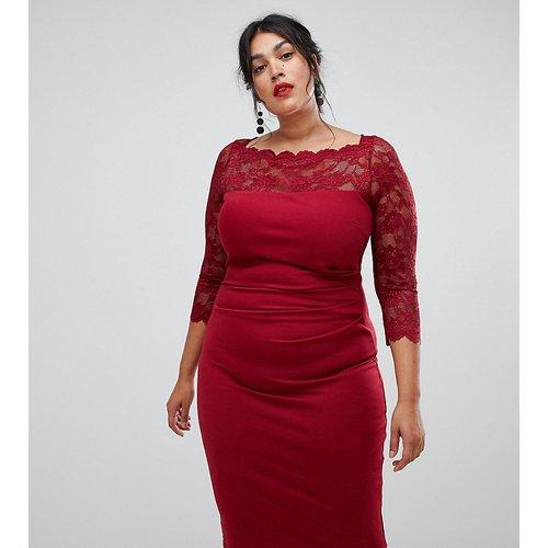 Robe fourreau en dentelle à manches longues - City Goddess Plus - Modalova