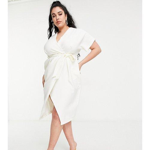 Robe cache-cœur mi-longue style kimono - Ivoire - Closet London Plus - Modalova