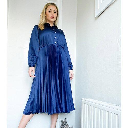 Robe chemise mi-longue plissée - Bleu - Closet London Plus - Modalova