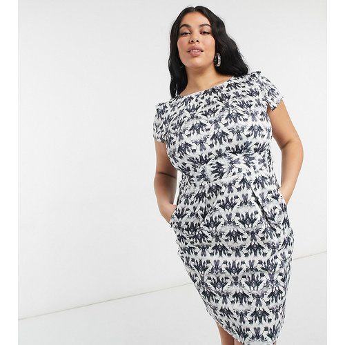 Robe fourreau longueur genou avec mancherons et imprimé joyaux - Noir - Closet London Plus - Modalova