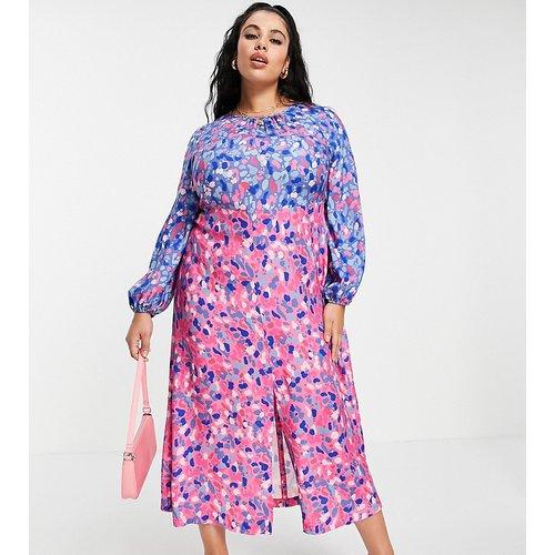Robe longueur mollet froncée à motif pois contrastants mélangés de couleurs vives - Closet London Plus - Modalova