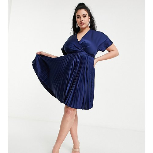 Robe patineuse cache-cœur mi-longue à plis - Bleu - Closet London Plus - Modalova