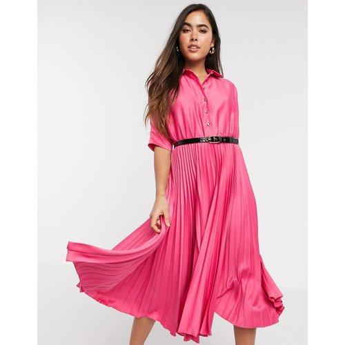 Robe chemise mi-longue plissée à manches courtes - Fuchsia - closet london - Modalova