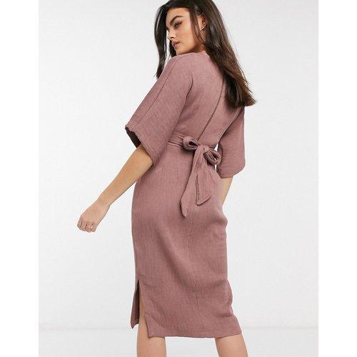 Robe côtelée mi-longue à liens et à manches kimono - hivernal - closet london - Modalova