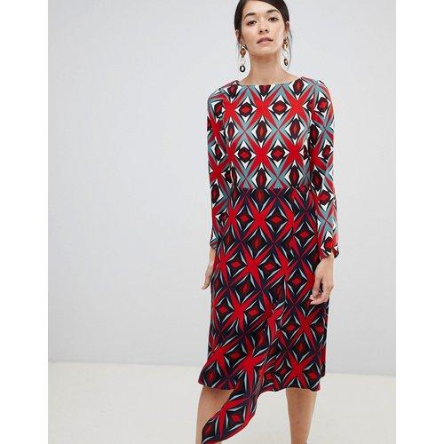 Robe droite mi-longue à imprimé contrasté - Multicolore - closet london - Modalova