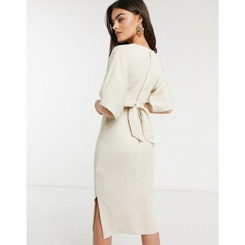 Robe fourreau côtelée avec ceinture à nouer - Taupe - closet london - Modalova