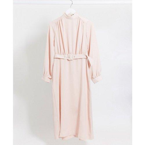 Robe mi-longue col montant avec ceinture - Vison - closet london - Modalova