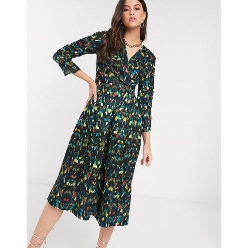 Closet - Robe portefeuille plissée à imprimé - closet london - Modalova