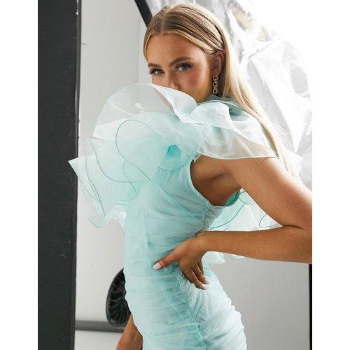 Robe courte asymétrique en organza à volants - menthe - Club L London - Modalova