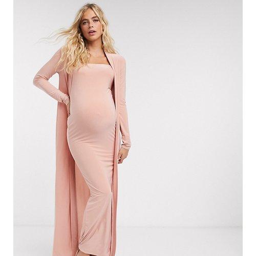 Club L London - Robe longue de maternité coupe bandeau près du corps avec fente sur la cuisse (ensemble) - Club L Maternity - Modalova