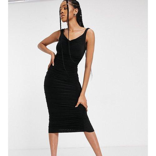 Robe mi-longue froncée à épaules dénudées - Noir - Club L London Tall - Modalova
