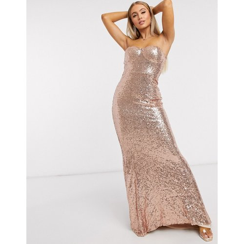 Club L - Robe longue sirène coupe bandeau avec sequins - Or rose - Club L London - Modalova